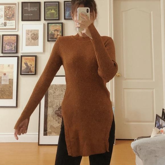 TOPSHOP Knitted Jumper (Orange/Brown)